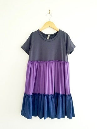 Charcoal/Purple Babydoll Dress