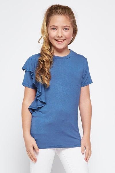 Tween Denim Blue One Shoulder Ruffle Top