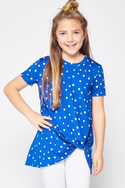 Royal Blue Polka Dot Front Twist Top