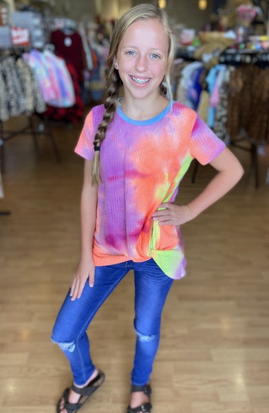 Tween Waffle Bright Tie Dye Side Twist Top