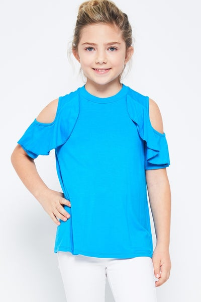 Aqua Cold Shoulder Ruffle Top