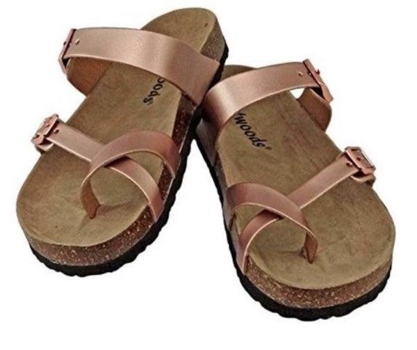 Rose Gold Birkenstock Inspired Sandals