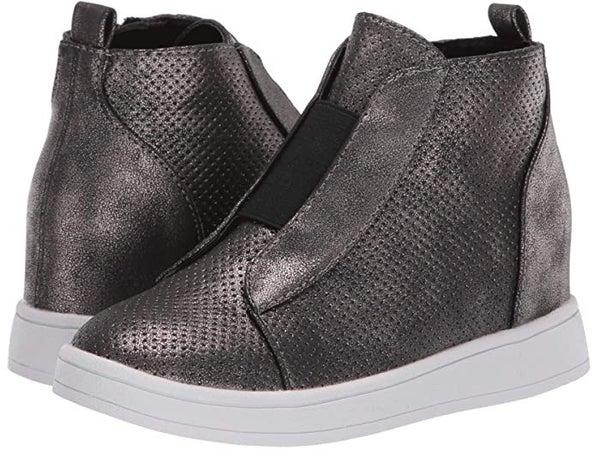 MIA Gracey Sneaker Wedge- Black/Pewter