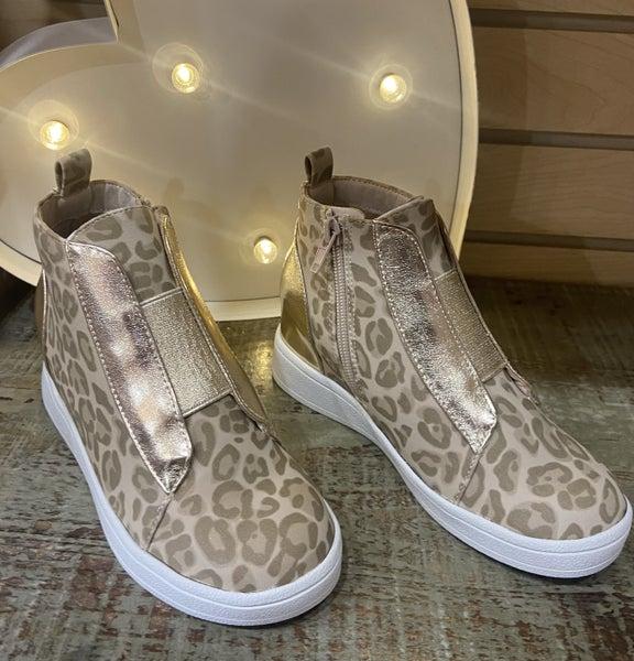 Tween MIA Gold Leopard Wedge Sneaker