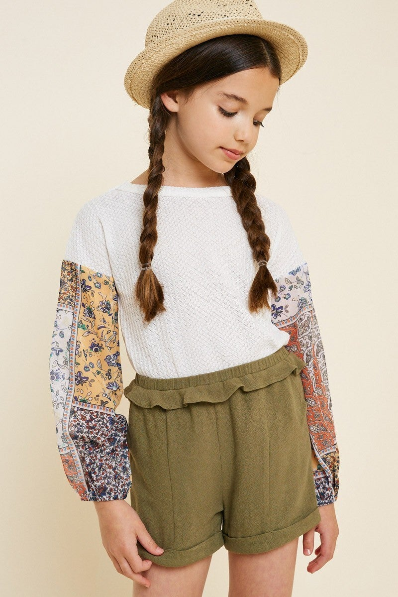 Kids Patchwork Sleeve Waffle Knit Top