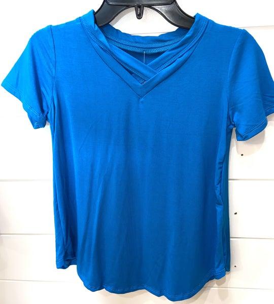 Tween Turquoise Criss Cross Top