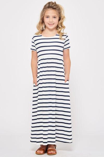 Navy/White Stripe Maxi with Pockets