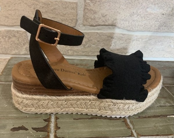 Black Espadrille Sandals with Ankle Strap