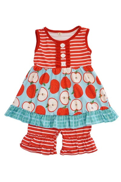 Red Stripe Apple Ruffle Shorts Set
