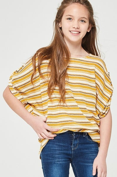 Mustard Stripe Dolman Top