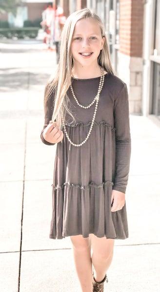 Tween Mocha Baby Doll Dress