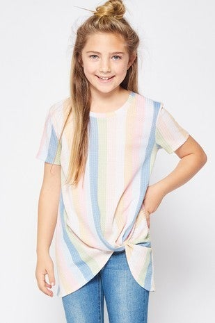 Pastel Stripe Waffle Side Twist Top