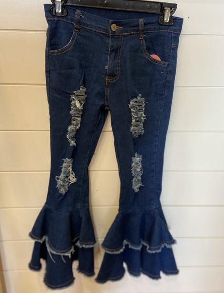 Denim Distressed Ruffle Bottom Jeans