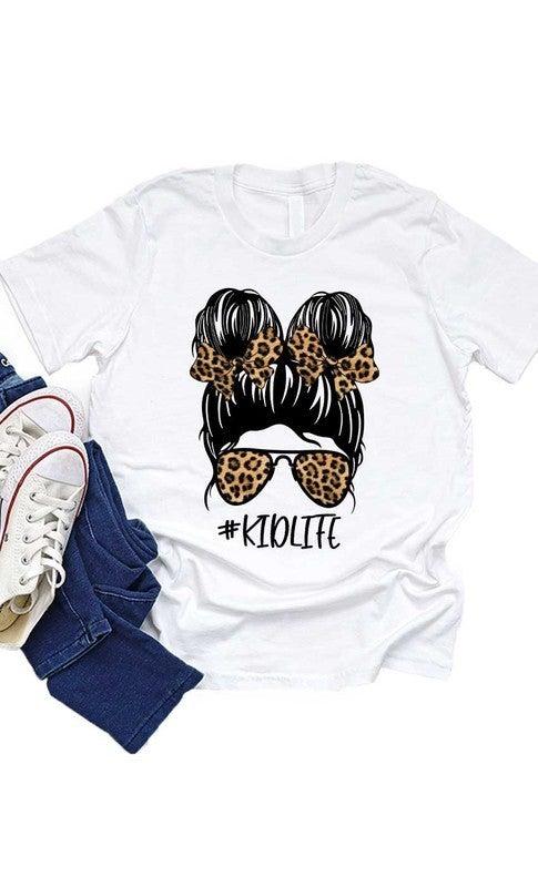White Leopard Messy Bun #KIDLIFE T Shirt