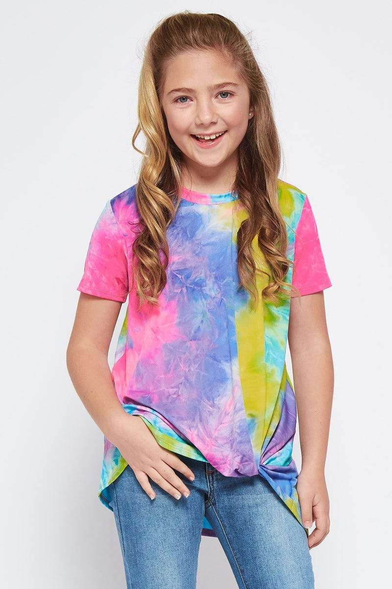 Tie Dye Front Knot Top- Pink