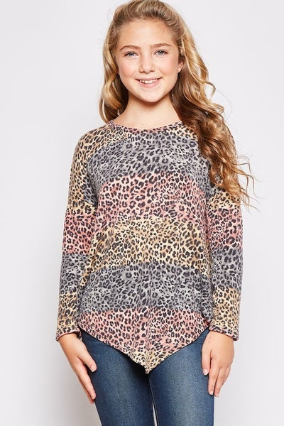 Coral/Grey Leopard Asymmetrical Top