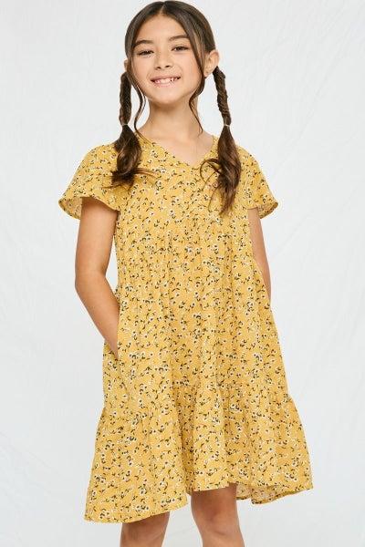 Hayden Mustard Floral Flutter Sleeve Dress