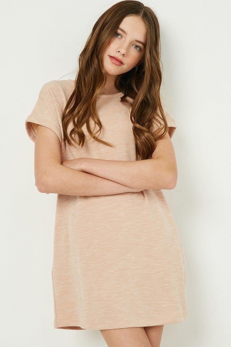 Hayden Blush Roll Sleeve Dress