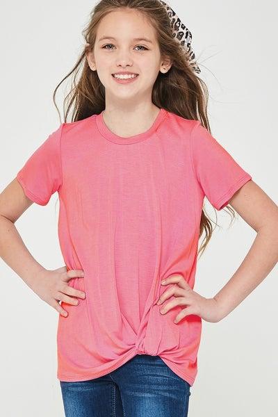 Pink Short Sleeve Side Twist Top