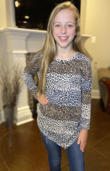 Mocha/Grey Leopard Asymmetrical Top