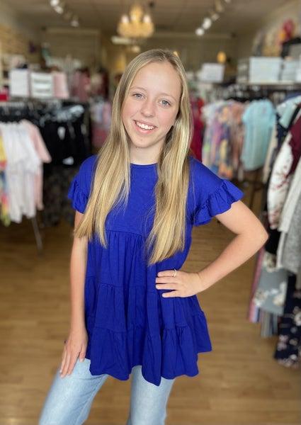 Tween Royal Blue Baby Doll Tunic Top