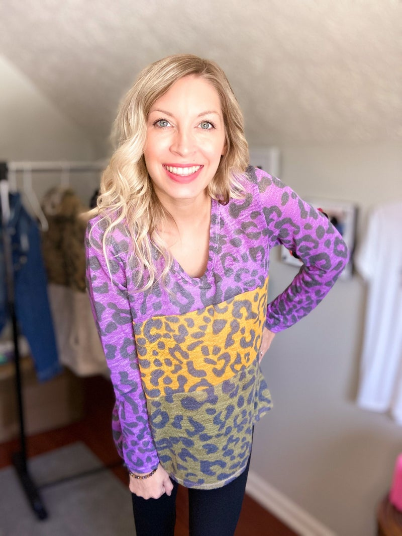 MARDI GRAS LEOPARD PRINT DEEP U NECK TOP *Final Sale*