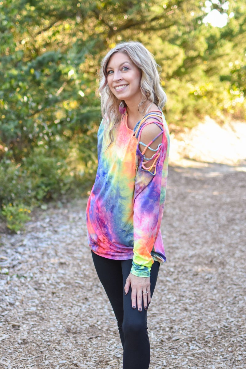 TIE DYE TOP WITH CRISS CROSS STRAP