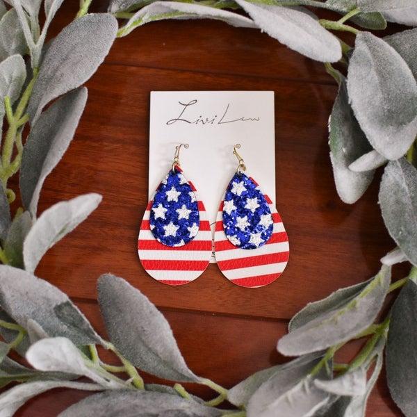 USA FLAG GLITTER TEARDROP EARRINGS