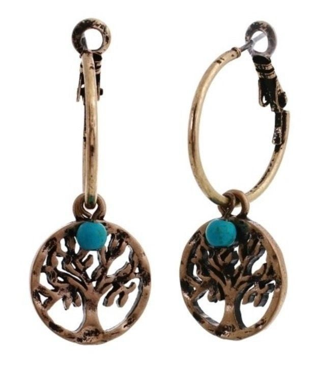 TURQUOISE SILVER TREE OF LIFE EARRINGS