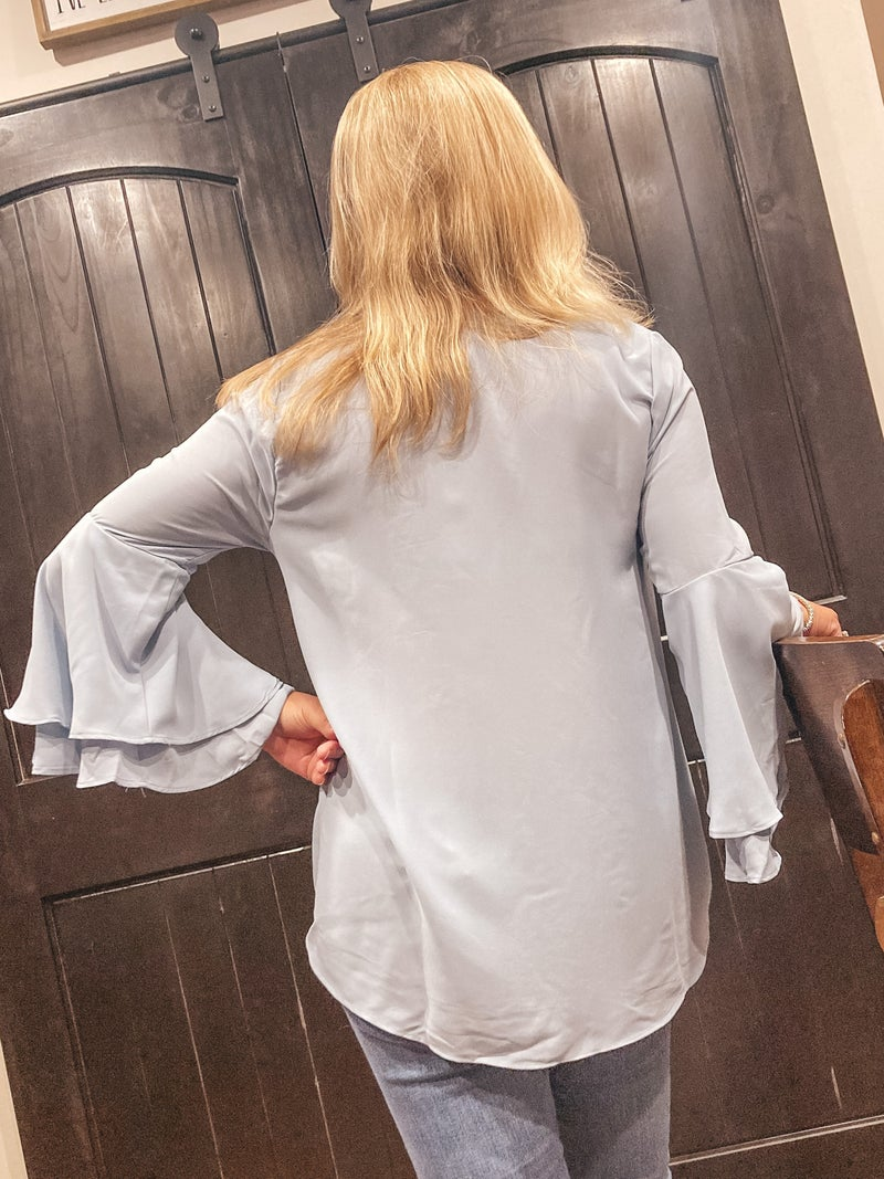 WOVEN WOOL DOBBY DOUBLE LAYERED BELL SLEEVE TOP