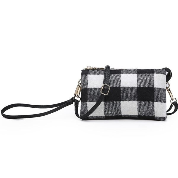 Riley plaid compartment wristlet/crossbody