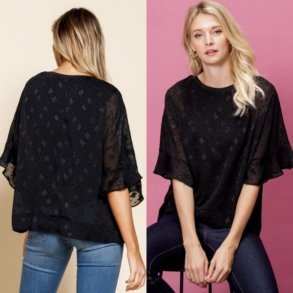 Black Ruffle sleeve blouse with sewn in cami