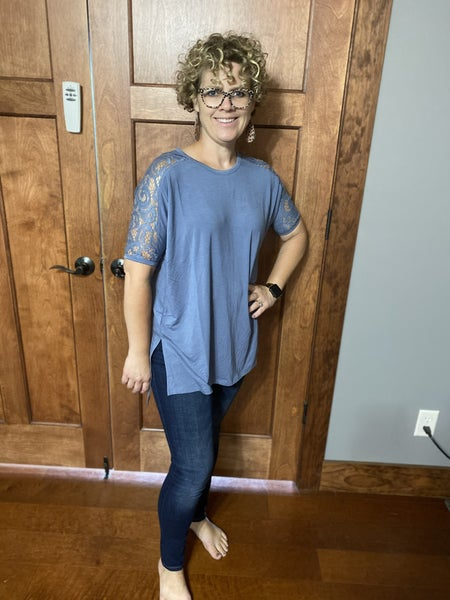 Blue/Grey top with lace detail