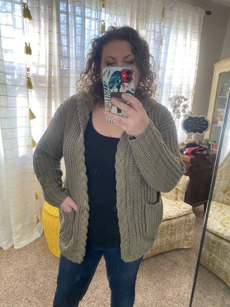 Olive knit cardigan