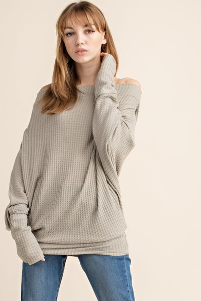 Multi-way neck waffle knit top in sage
