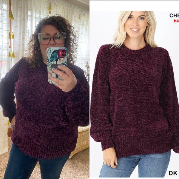 Plum oversized chenille sweater