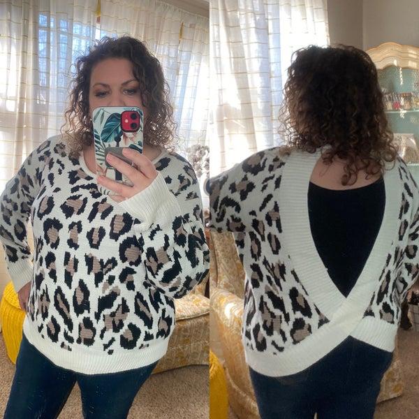 Ivory leopard print sweater w/open back