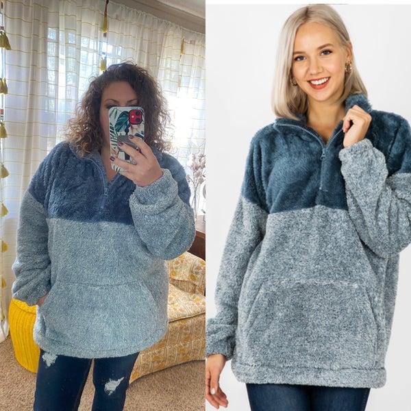 Blue faux fur pullover