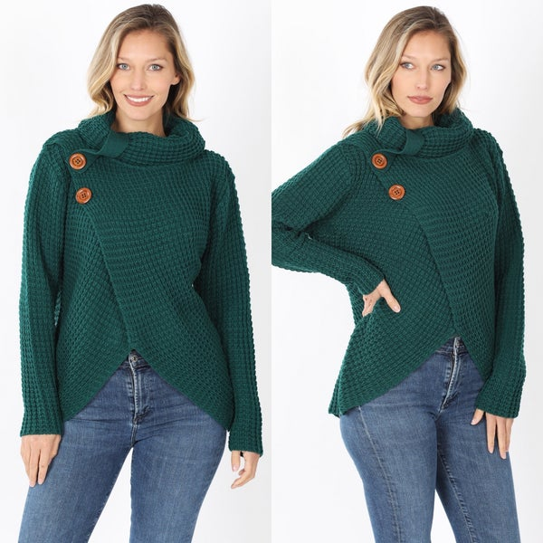 Cowl neck wrap sweater in deep green