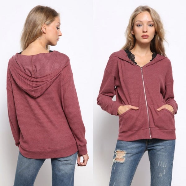 Red-Brown waffle knit pocketed hoodie