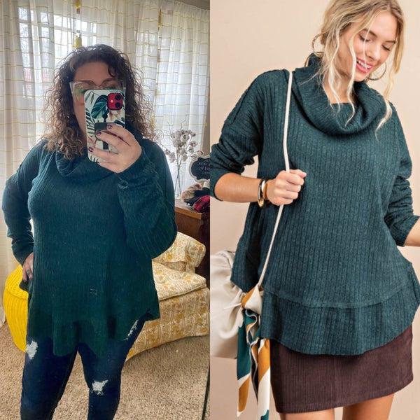 Hunter green ruffled soft pullover