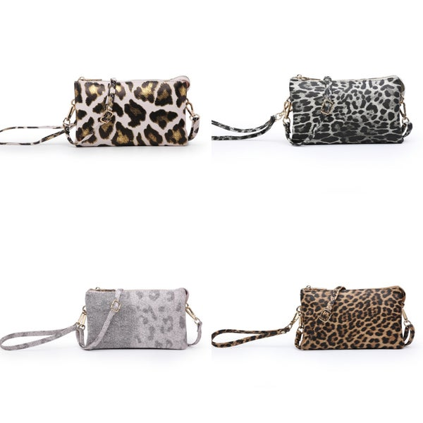 Riley leopard compartment wristlet/crossbody