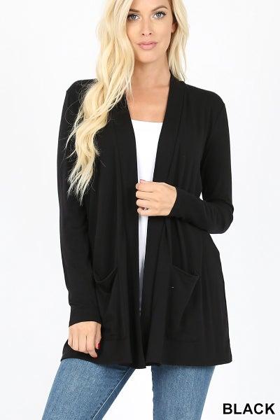 Black lightweight cardigan with pockets
