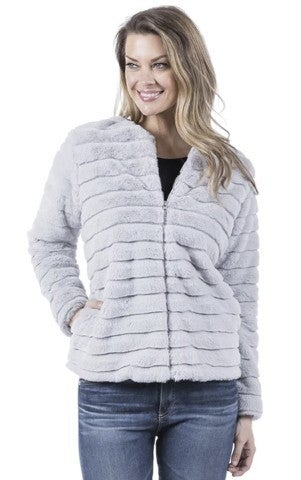Grey Faux Fur jacket w/pockets