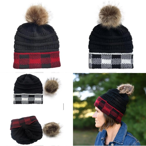 Buffalo plaid knit hat w/ removable Pom