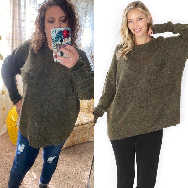 Olive oversized sweater with pocket