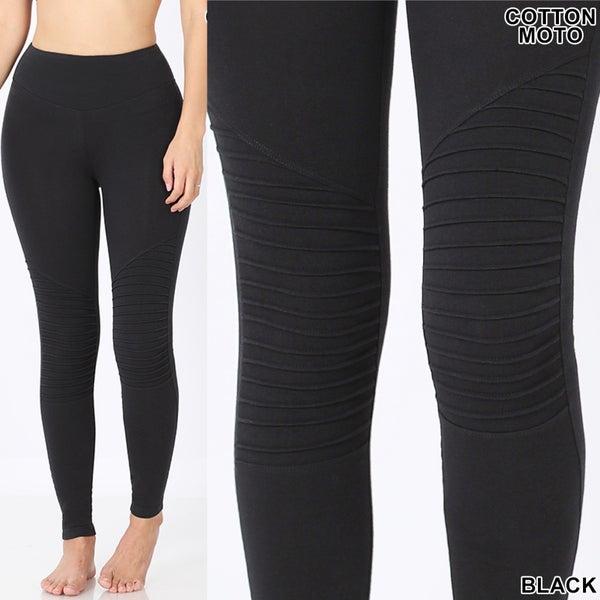 Black cotton moto leggings