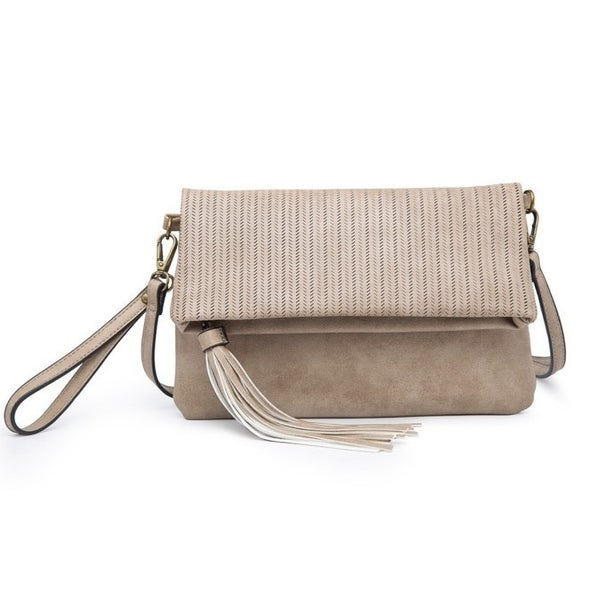 Austin lasercut clutch/crossbody in sand