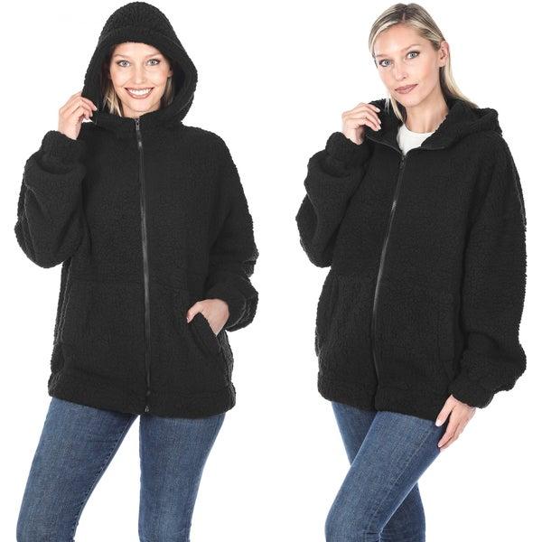 Soft Sherpa hooded zipper jacket