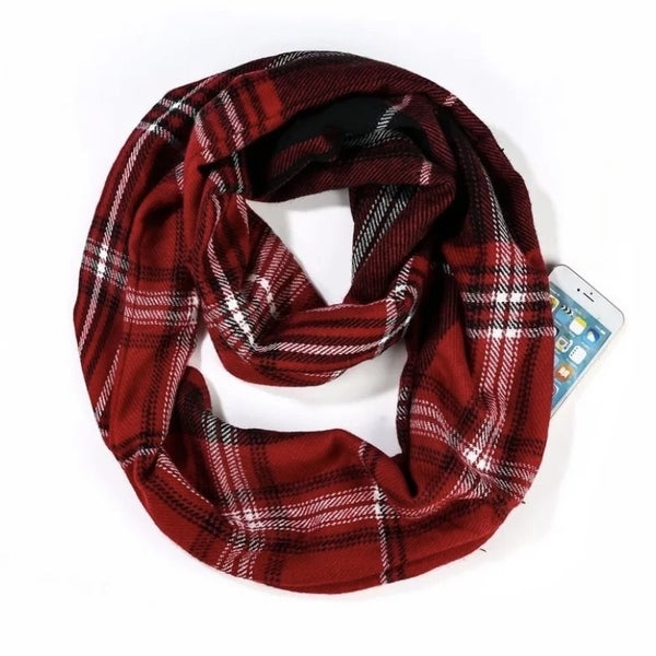 Plaid infinity scarf with hidden pocket